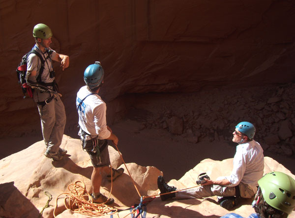 Aron Ralston, Guide Scott Deputy, Danny Boyle & Chris Colson at the Big Drop Rappel