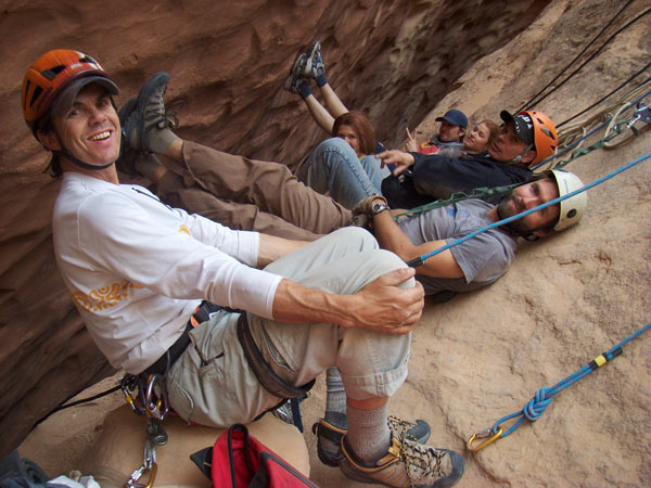 Safety Coordinator Brett Sutteer and the rigging-stunt team chillin' between shots
