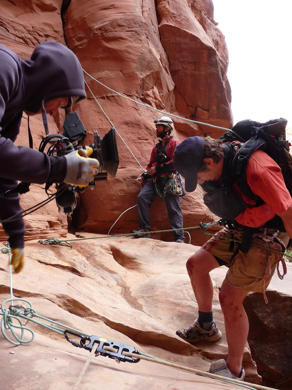 James Franco as Aron Ralston on rappel