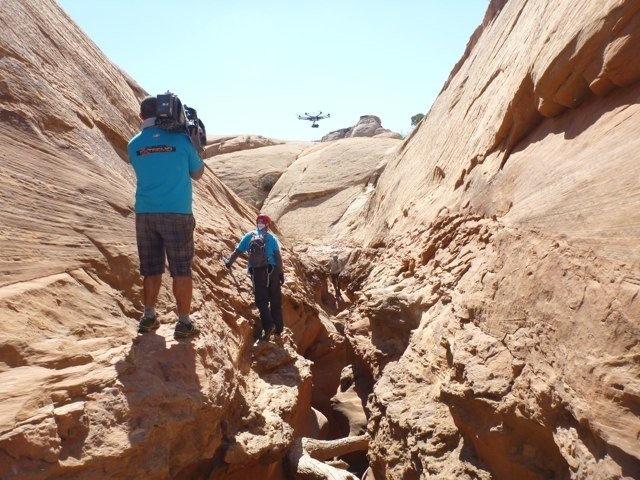 Camera drone in the canyon
