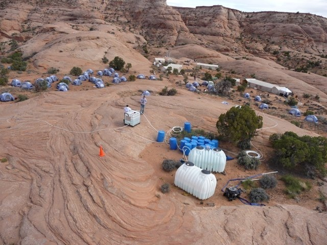 Heli view of 127 Hours Camp in Blujohn Canyon, Utah